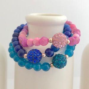 Handmade Kids Agate CZ Beaded Bracelet